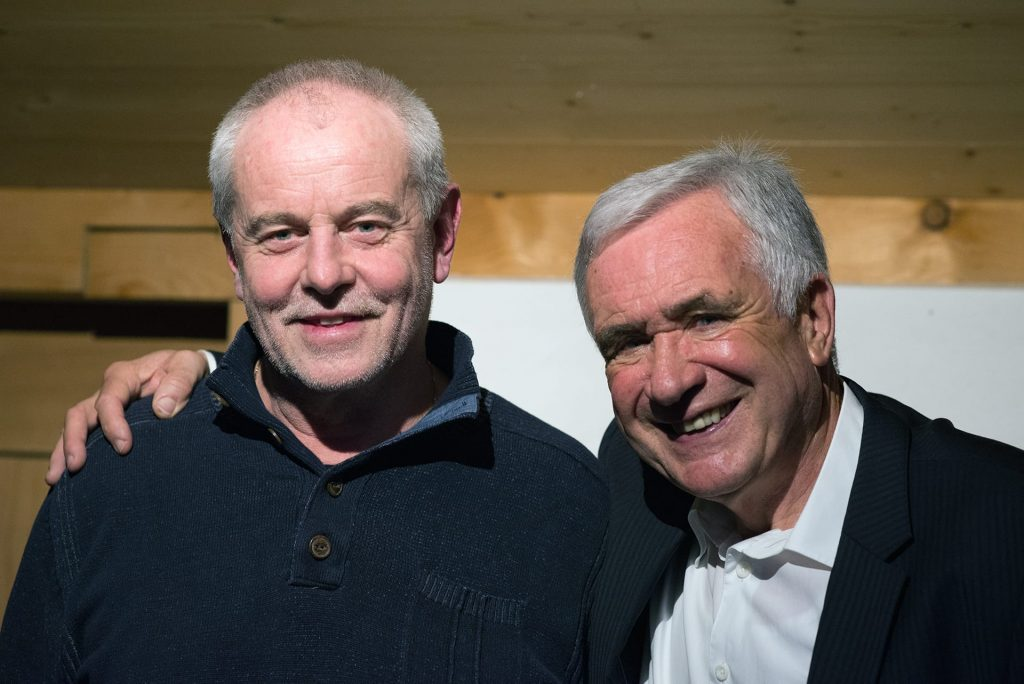 Franz Keller, Präsident Förderverein Trinkhalle am Kleinen Rugen, und der Gast des diesjährigen Kuluranlasses, Hanspeter Latour (rechts).